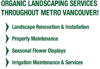 Organic Landscaping Services Throughout Metro Vancouver! Landscape renovation & installation, property maintenance, seasonal flower displays, irrigation maintenance & services