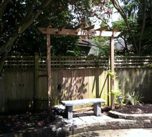 Pergola and bench in South Surrey - Ladybug Landscaping Ltd