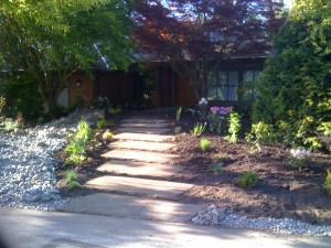 Frontyard without lawn in Surrey : AFTER - Ladybug Landscaping Ltd